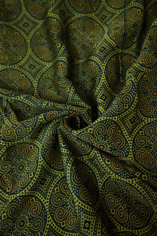Green with Black and Maroon Ajrak Modal Silk Fabric