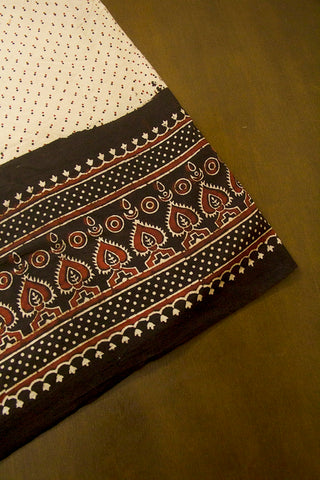 Beige with Black and Maroon Ajrak Cotton Fabric