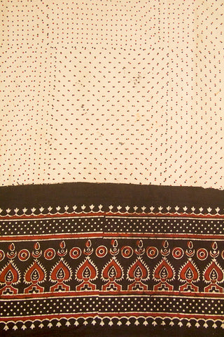 Beige with Black and Maroon Ajrak Cotton Fabric-0.6 m