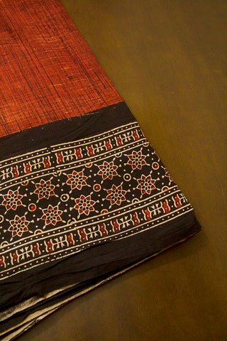 Maroon with Black Stars Daman Print Ajrak Bordered Fabric