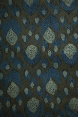 Blue Floral in Grey Bagru Block Printed Cotton Fabric
