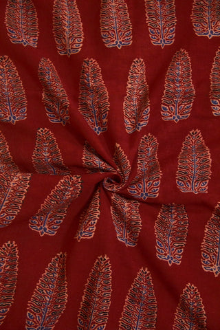 Maroon with Black Leaf Ajrak Cotton Fabric