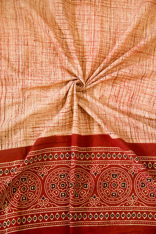 Maroon with Beige Circles Daman Print Ajrak Bordered Fabric