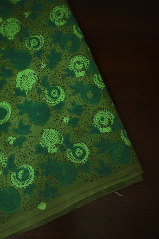 Shades of Green Bagru Block Printed Cotton Fabric