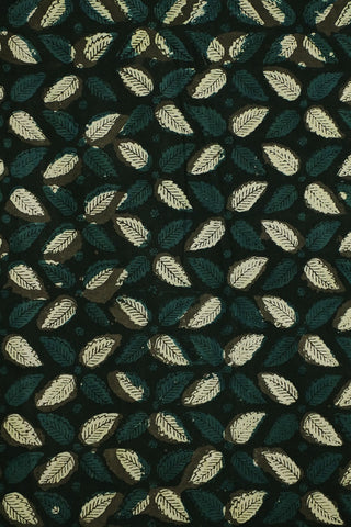 Leaf Floral in Black Bagru Block Printed Cotton Fabric