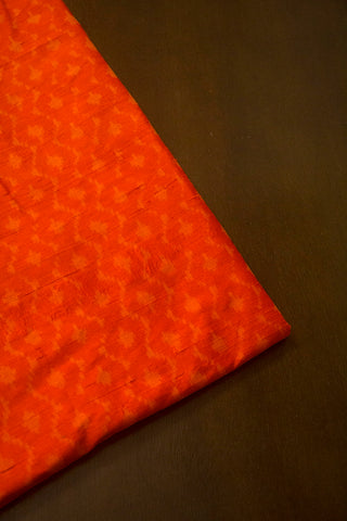 Orange Raw Silk Ikat Fabric