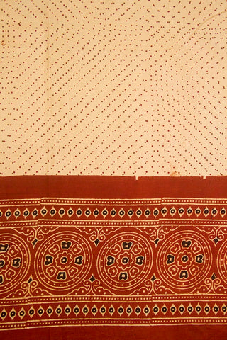 Beige with Maroon Dots Daman Print Ajrak Bordered Fabric