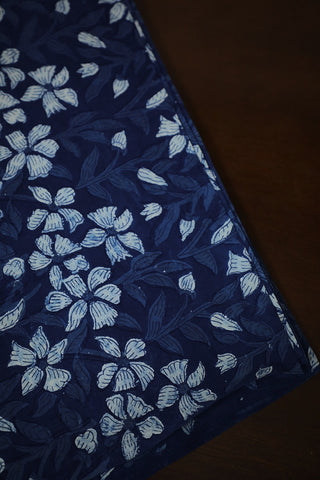 Off White with Indigo Floral Bagru Block Printed Cotton Fabric