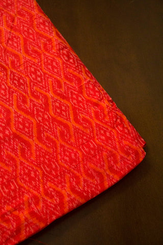 Red with Orangre Raw Silk Ikat Fabric