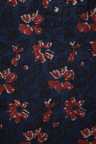 Blue with Rust Red Bagru Block Printed Cotton Fabric