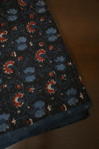 Black with Blue Floral Bagru Block Printed Cotton Fabric