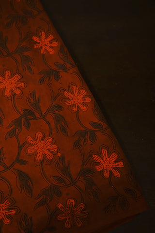 Rust Brown  Bagru Block Printed Cotton Fabric