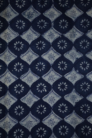 Indigo with Off White Bagru Block Printed Cotton Fabric