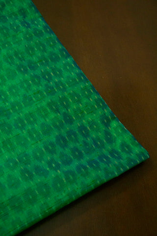 Double Shaded Blueish Green Raw Silk Ikat Fabric