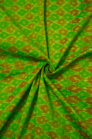 Green with Brown Small Diamond Silk Cotton Ikat Fabric