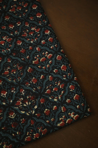 Black with Maroon Floral Bagru Block Printed Cotton Fabric
