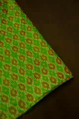 Green with Brown Small Diamond Silk Cotton Ikat Fabric-0.9m