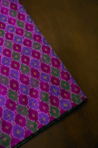 Colourfull Diamonds Raw Silk Ikat Fabric
