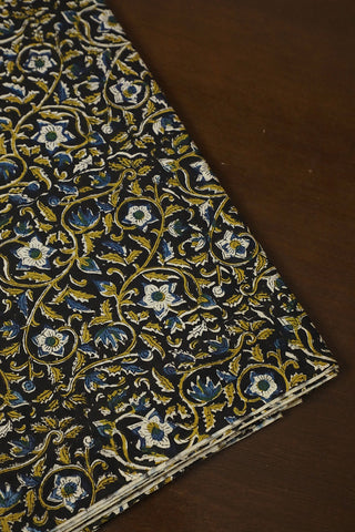 Greenish Yellow Floral in Black Bagru Block Printed Fabric