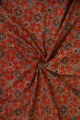 Red with Indigo Circles Ajrak Cotton Fabric