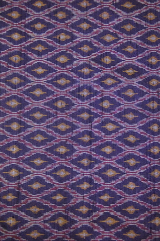 Navy Blue Diamond Raw Silk Ikat Fabric - 1.3m