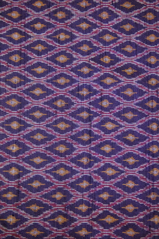 Navy Blue Diamond Raw Silk Ikat Fabric