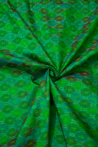 Shades of Green and Blue Raw Silk Ikat Fabric- 1m