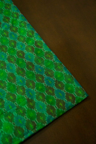 Shades of Green and Blue Raw Silk Ikat Fabric