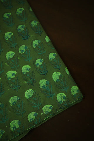 Green Floral Bagru Block Printed Cotton Fabric