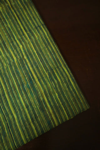Black with Green Lines Bagru Block Printed Cotton Fabric