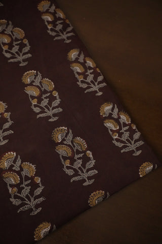 Dark Brown Bagru Block Printed Cotton Fabric