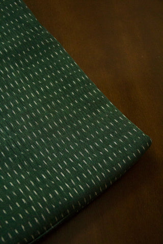 Subdued Green Handwoven Ikat Cotton Fabric