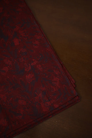 Dark Maroon Floral Bagru Block Printed Cotton Fabric