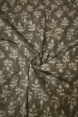 Small Floral in Grey Bagru Block Printed Cotton Fabric