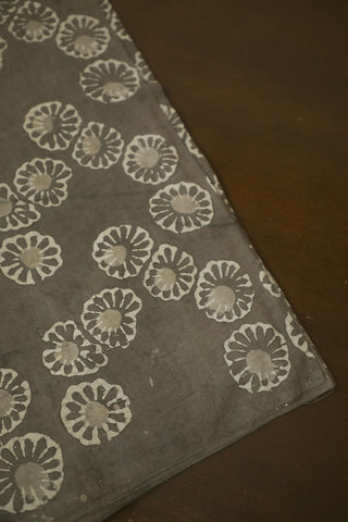 Floral Zig Zag in Grey Bagru Block Printed Cotton Fabric