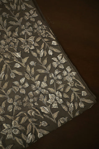 Floral in Grey Bagru Block Printed Cotton Fabric