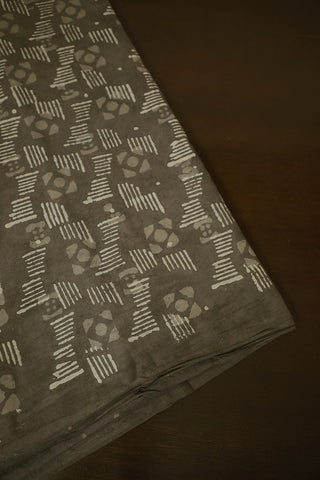 Grey Bagru Block Printed Cotton Fabric