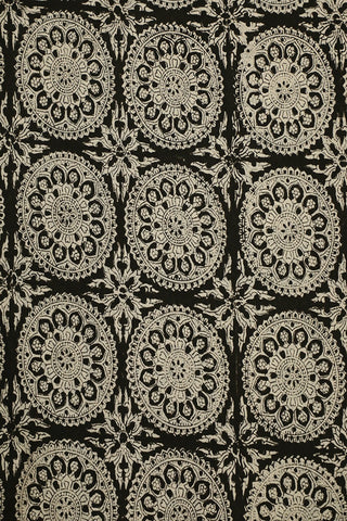 Beige Rangoli Circles in Black Bagru Block Printed Fabric