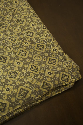 Light Olive Green Circles Ajrak Cotton Fabric-1.9 m
