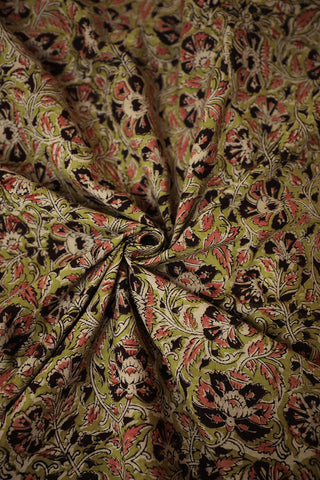 Green with Pink and Brown Floral Printed Kalamkari Cotton Fabric