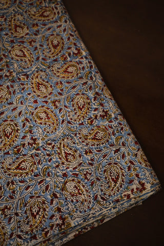 Yellow Paisley Floral in Blue Printed Kalamkari Cotton Fabric