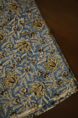 Blue with Olive Green Floral Printed Kalamkari Cotton Fabric
