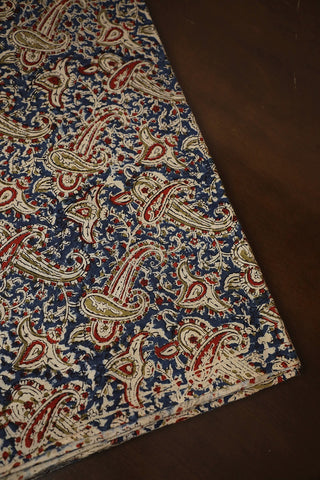 Blue with Maroon Big Paisley Printed Kalamkari Cotton Fabric