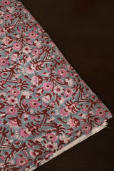 Cement Grey with Pink Floral Mul Cotton Fabric-1m