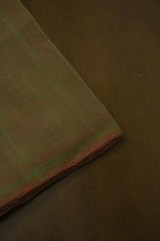 Double Shaded Greenish Maroon Handwoven Mangalagiri Cotton Fabric - 1.8m
