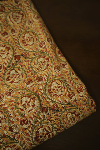 Peach with Green Floral Printed Kalamkari Cotton Fabric
