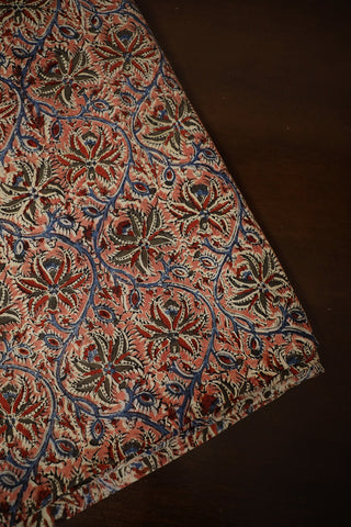 Peach with Maroon and Blue Printed Kalamkari Cotton Fabric