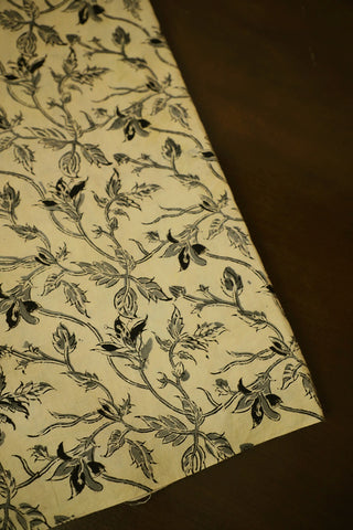 Beige with Grey Floral Printed Kalamkari Cotton Fabric