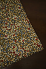 Olive Green with Blue Floral Printed Kalamkari Cotton Fabric