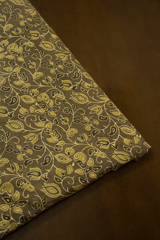 Yellowish Green Floral Ajrak Cotton Fabric